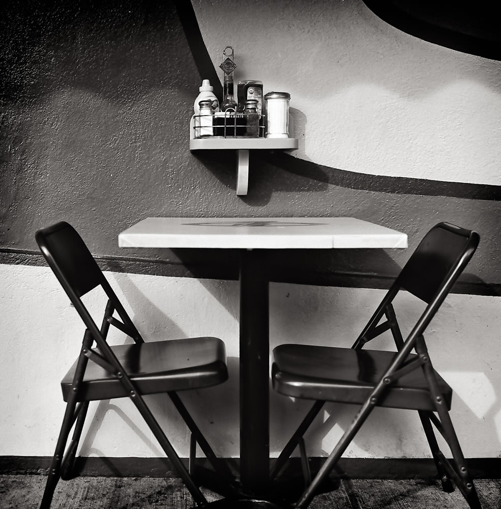 First date table - Location of our first date. Fred's 62, Los Feliz, CA. Hasselblad 500C, Fujifilm Acros 100
