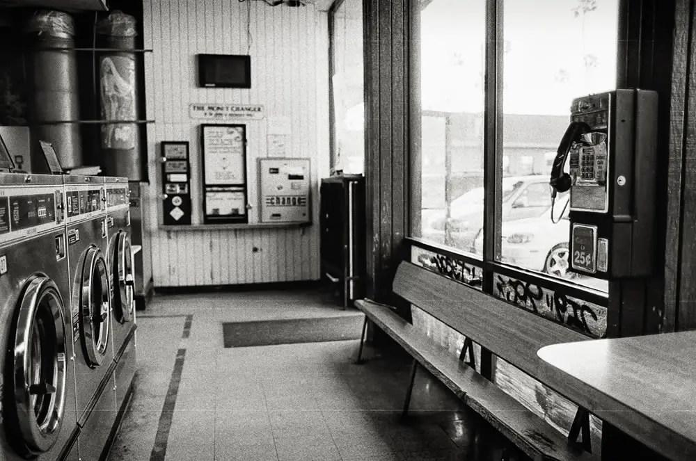 Laundromat - Payphone in a Laundromat. Hollywood, CA. Canon EOS-3, Kodak T-MAX 400.