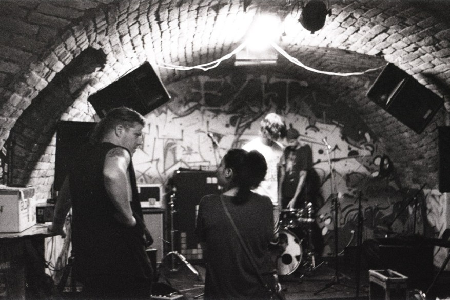 Hollywoodfun Downstairs, just before the Syndrome + Misled Llama soundcheck - Praktica MTL5B + Pentacon 50mm f/1.8 + Fomapan 400 @ 1600 (semi-stand-developed in Rodinal)
