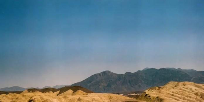 Harmony Borax Works - Kodak Pro 400 MC 6059 shot at EI 320. Color negative film in 120 format shot as 6×12. Graflex Speed Graphic. Kodak Aero Ektar 178-2.5. 6×12 film back.