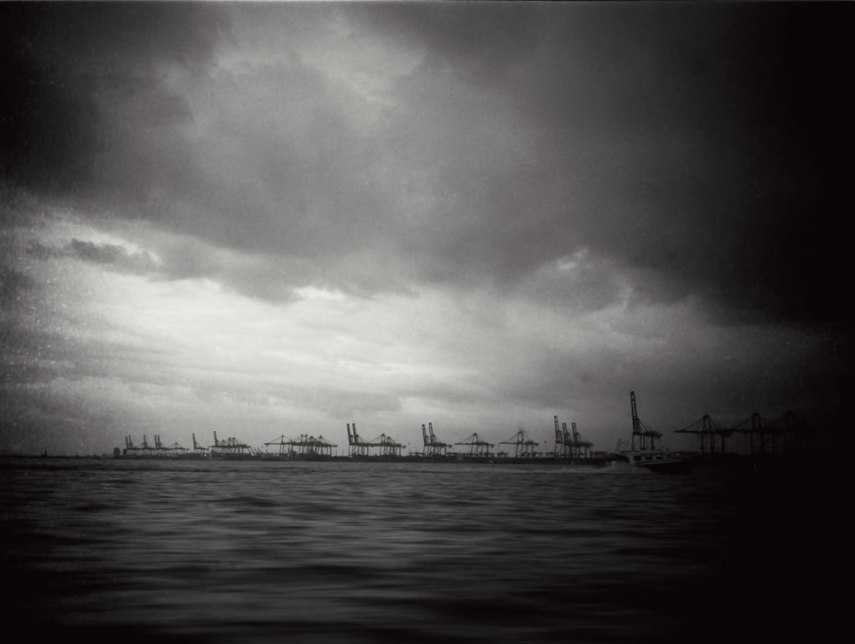 """Untitled"", Malacca Strait. Fuji GS645S, 60mm f/4.0 loaded with ILFORD Pan F+ exposed at EI 50, developed in Adox Rodinal 1:50. Speeding towards Port Klang a storm was brewing. Thunderstorms are quite frequent here."