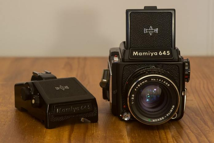 Mamiya 645 1000S - Front - With AE Prism and waist level finder