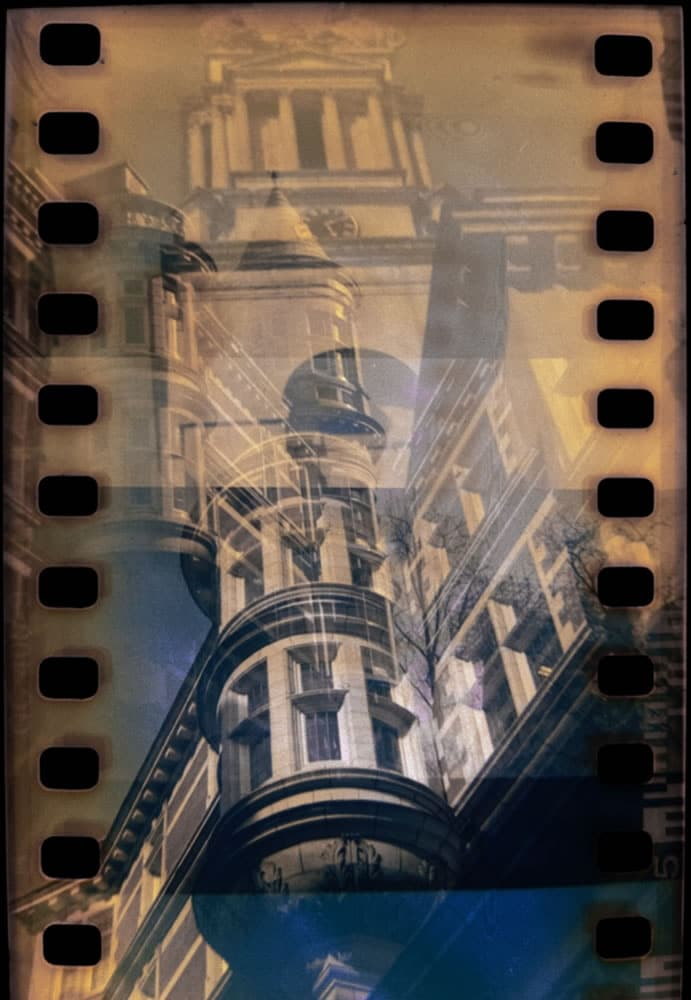 Double Exposure of Sicilian Avenue and St George's Church, Holborn, London. 10/03/2017 Billora Bella 44 (Mid 1950's 127 square format camera) Kodak 400 35mm f8 1/50th