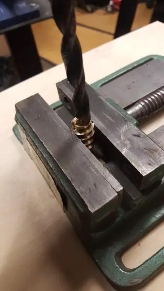 Building a semi-automatic film processor - drilling the threaded inserts