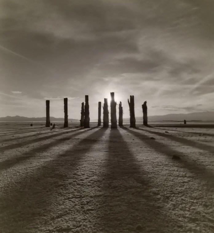 """From the Great Salt Lake taken in 2012 on Fuji Neopan Acros 100 Negative in 6x7 scanned Original image titled """"La Guitarra de La Diosa"""""""