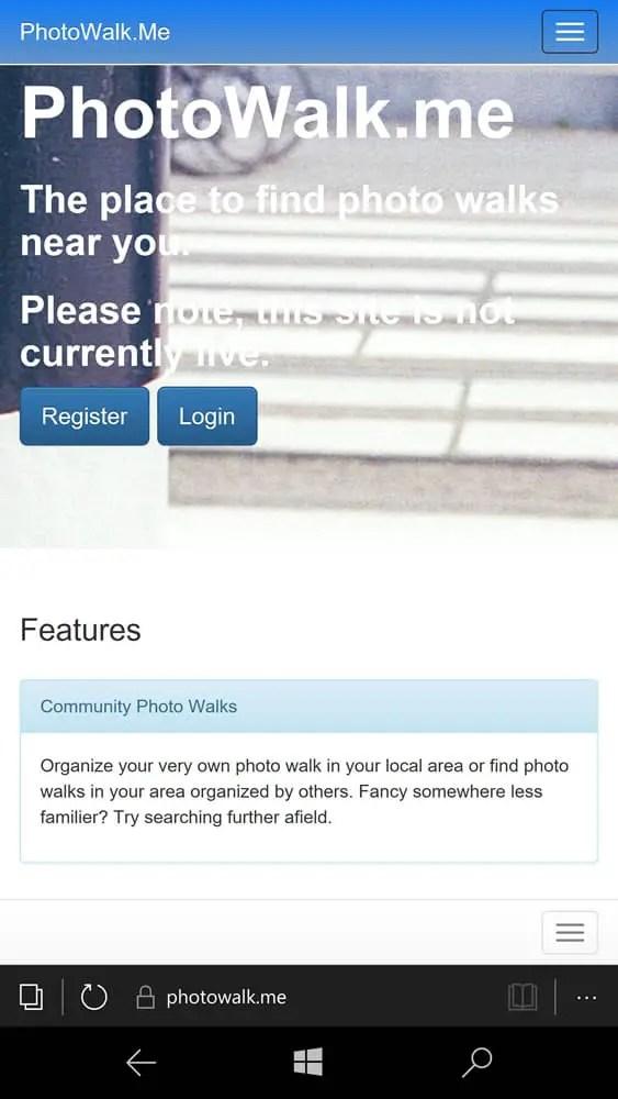 PhotoWalk.Me - Mobile Home