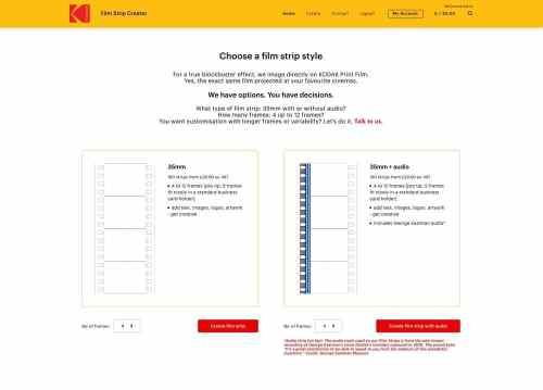 Kodak Film Strip Creator - Select page