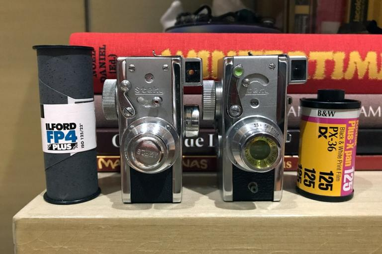 Steky Family - Steky II on the left, Steky IIIB on the right and films for scale.