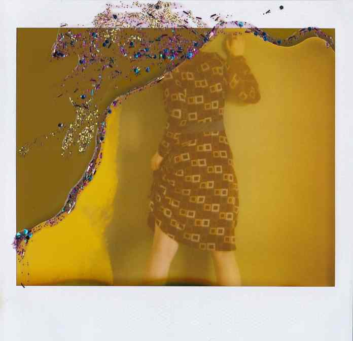 Torn Pages - Polaroid Spectra, Glitter on expired Polaroid Spectra film