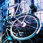 Bike share - Shot on Lomography Lomochrome Purple XR 100-400 at EI 400. Color negative film in 35mm format.