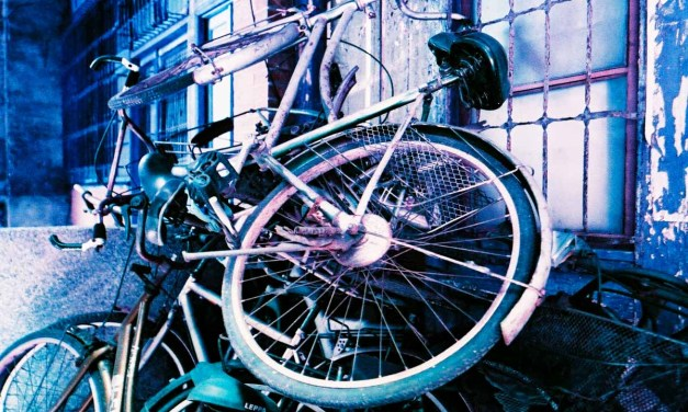 Bike share – Shot on Lomography Lomochrome Purple XR 100-400 at EI 400 (35mm format)
