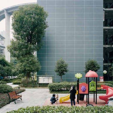 Courtyard of an apartment complex near Caiyuanba Bridge, Chongqing, China, 2017 - From Forest series