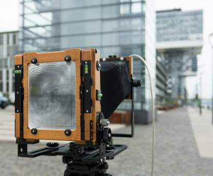 On location in Cologne with the Chamonix C45F-2 with a 300mm lens mounted.