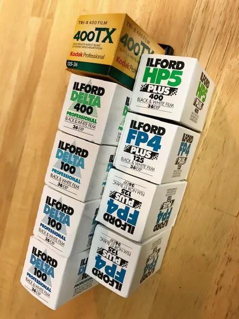 ILFORD HP5 PLUS, FP4 PLUS, Detla Professional films and Kodak Tri-X 400