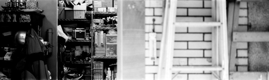 Inside out - Shot on ILFORD FP4 PLUS at EI 800. Black and white negative film in wide 35mm format (TEXPan). Push processed 2⅔-stops. Fuji GW690III + EBC Fujinon 90mm f/3.5.