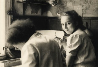 Sieglinde Hefftner, right, with Else Thode at the retouching desk at Photo Glocke