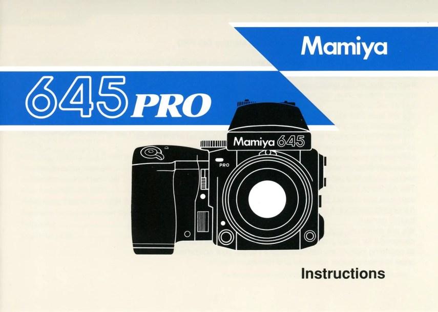 Cover of Mamiya 645 Pro user manual