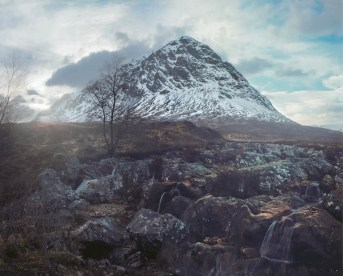 Buachaille Etive Mor; Being an effectively backlit subject, Kodak Ektar 100 was essential in retaining all the foreground detail, which makes up over half the image