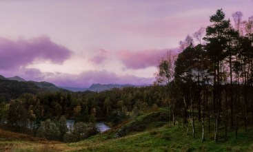 Langdale Pikes; Here a muted sunset takes on more character when the foreground is darkened and the sky has its colour brought out.