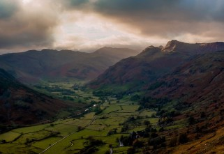 Langdale Pikes; Kodak Ektar 100 does a fantastic job of toning down the scene's natural contrast and giving more detail and texture to both the bright sky and dark valley below.