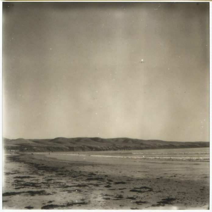 """On the beach"" 2018. Impossible SX70 B+W scan as it was printed on vinyl for exhibition at 90cm x 90cm"