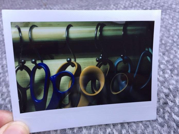 Scissors on Instax wide film