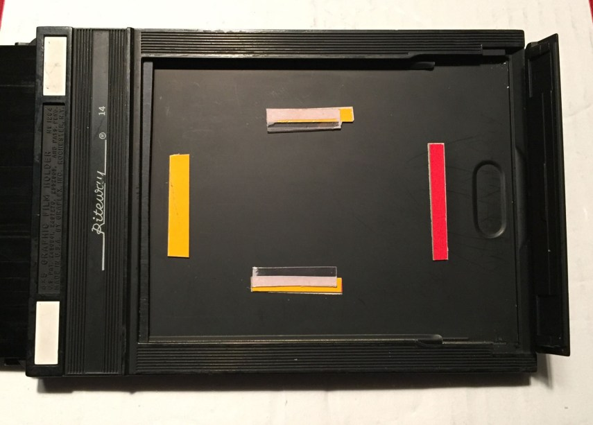 5 x 4 film holder modified for Instax Mini film