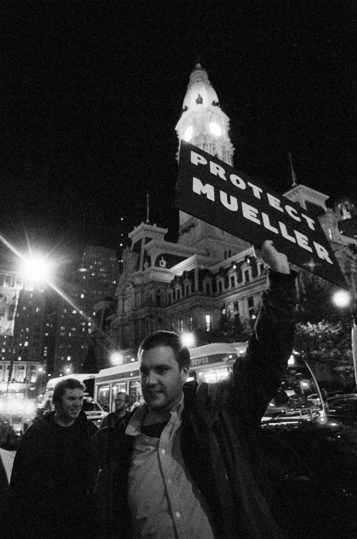 No One is Above the Law protest, Nikon F2AS, 24mm f/2.8 AF-D, Ilford Delta 3200
