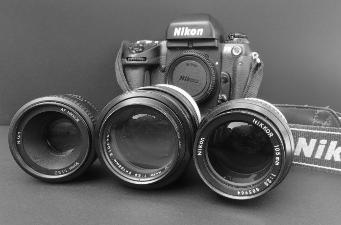Nikon F5 with Nikkor 50mm f/1.8 AF-D, Nikkor-Q 135mm f/2.8 and Nikkor 105mm f/2.5