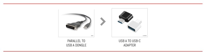 From Parallel to USB A in two steps.