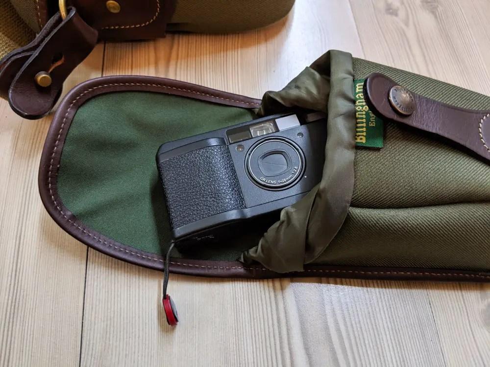 Billingham AVEA 7 end pocket (with Ricoh GR1s - open)