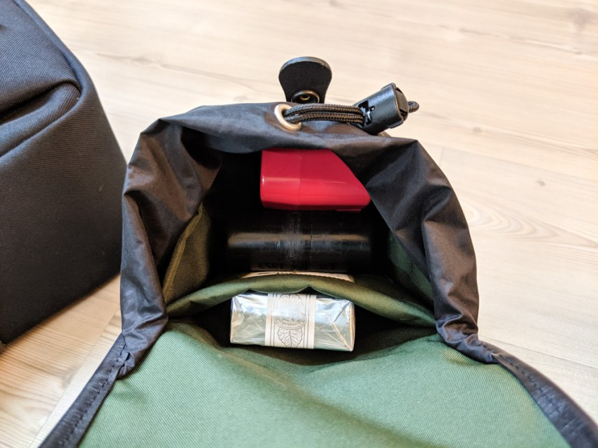 Billingham AVEA 8 end pocket (with 120 and 135 JCH film cases - open)