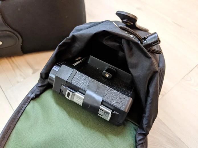 Billingham AVEA 8 end pocket (with Holga 120 WPC - open)