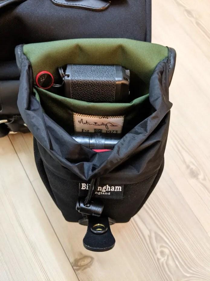 Billingham AVEA 8 end pocket (with Ricoh GR1s, 120 and 135 JCH film cases - open)