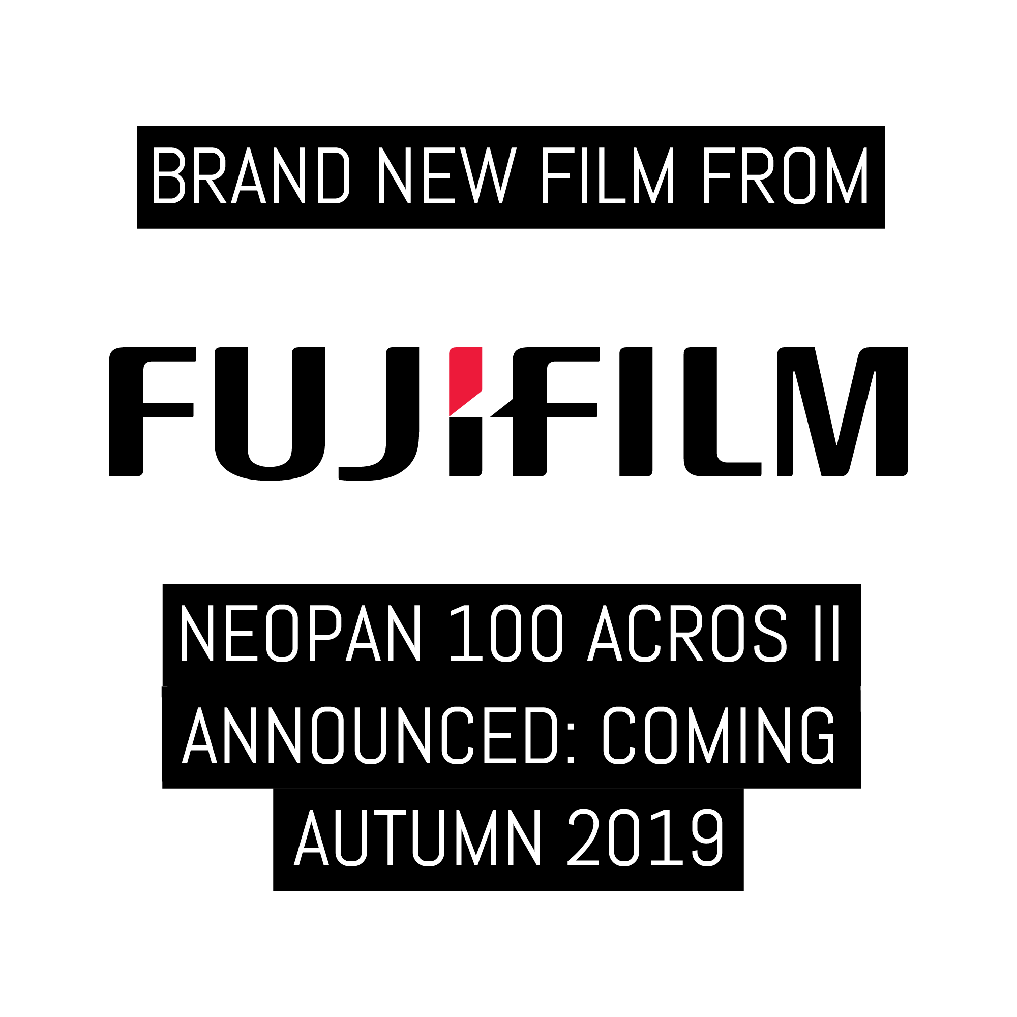 Brand new film from Fujifilm: NEOPAN 100 ACROS II announced, begins shipping Autumn 2019
