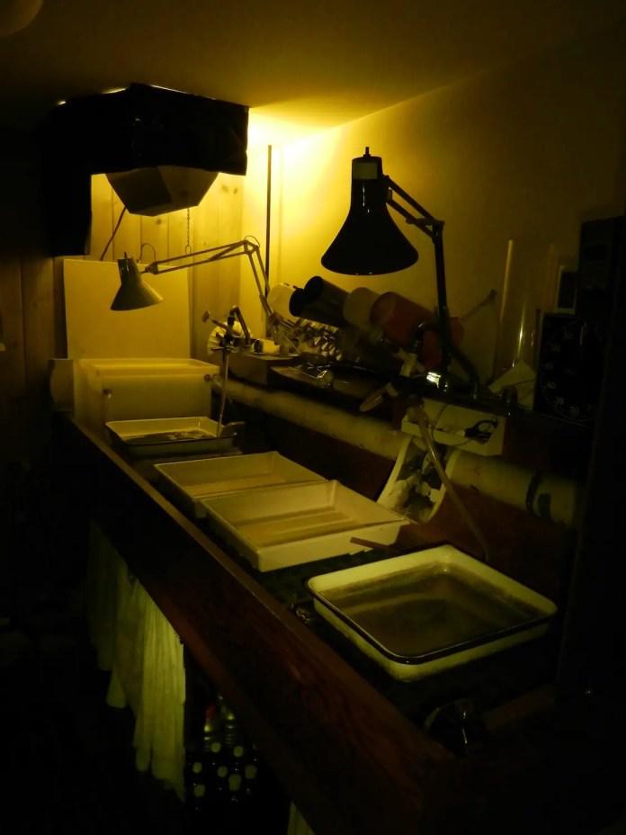 Darkroom trays under safe light