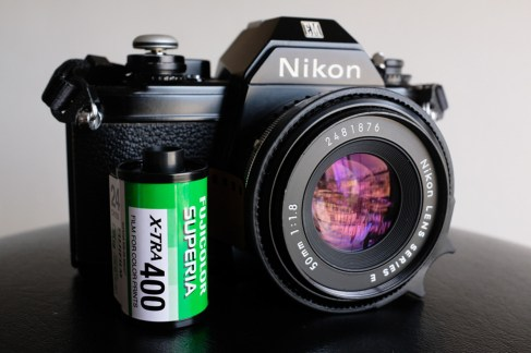 Monette is shooting a Nikon EM, 50mm series E lens and Fuji Superia X-TRA 400