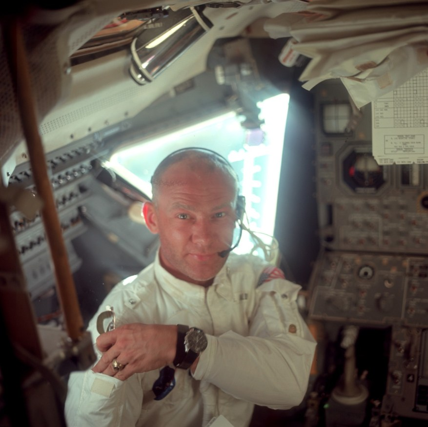 Neil Armstrong took this picture of Buzz during their initial inspection of the LM. Credit: Neil Armstrong, NASA ID: AS11-36-5390
