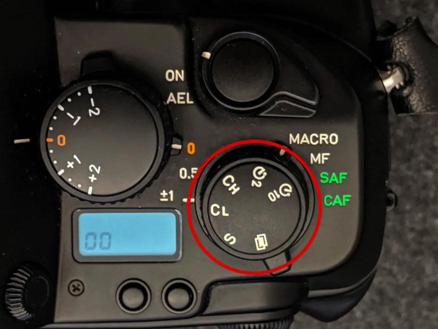 CONTAX AX - Drive dial close-up
