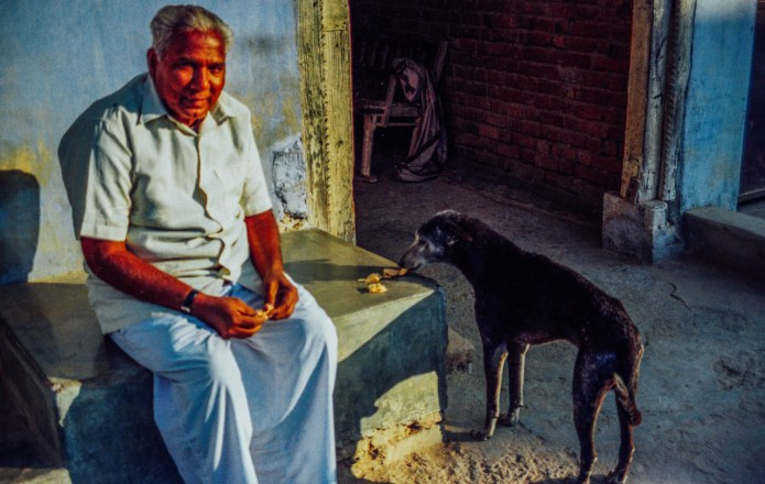 Man and dog. Jesangpura, India. Yashica FX-D