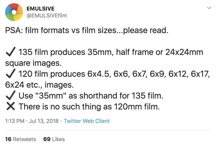 EMULSIVEfilm on Twitter - Film Format PSA