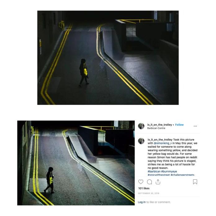 My shot top, Harley's Instagram post bottom