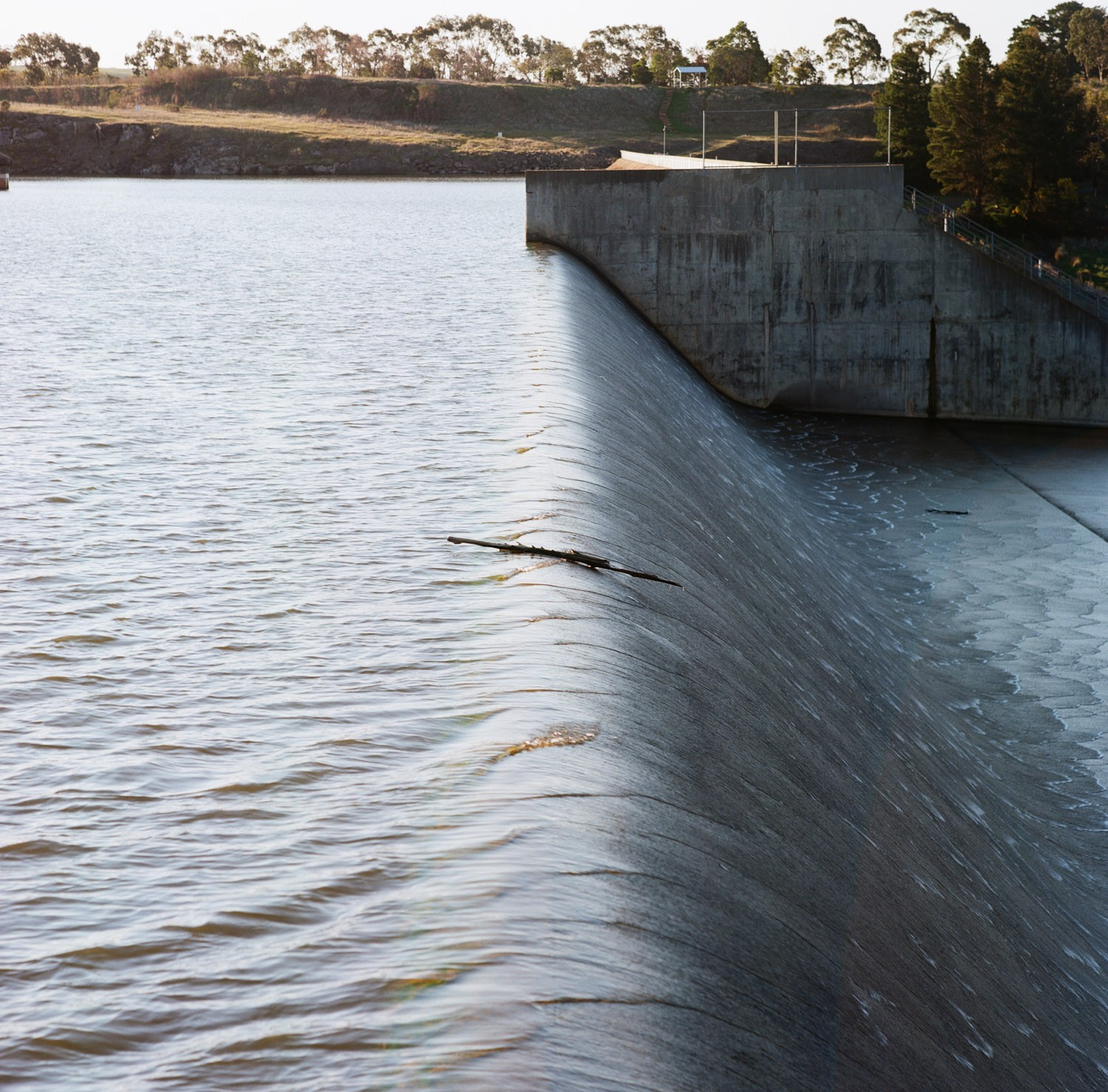 The spillway  Film: Kodak Ektar 100 Lens: 150mm f/2.8 Exposure: not recorded.   Coliban reservoir spillway, near Lauriston, Vic, Australia