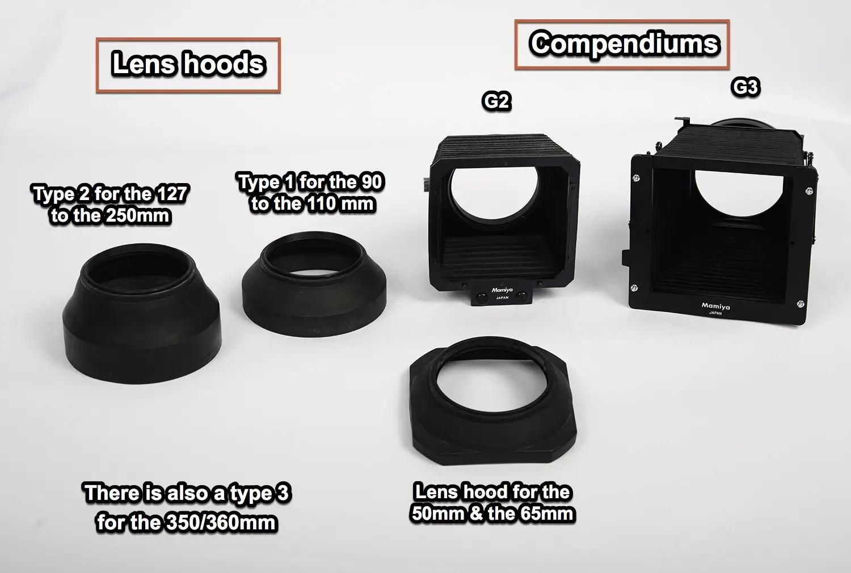 Mamiya RZ67 lens hoods and compendium shadesMamiya RZ67 lens hoods and compendium shades