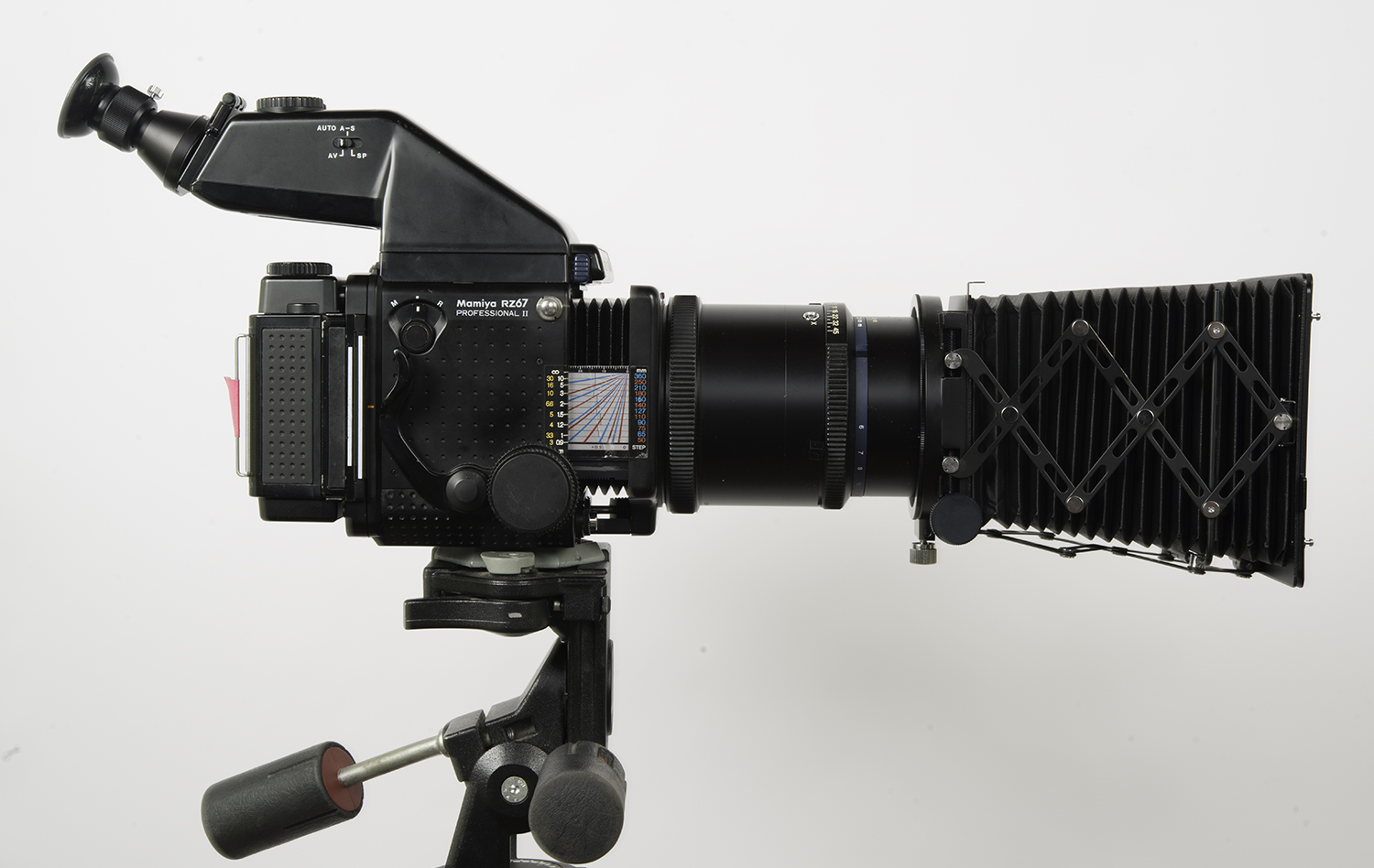 Mamiya RZ67 with 500mm lens, filter holder and compendium shade