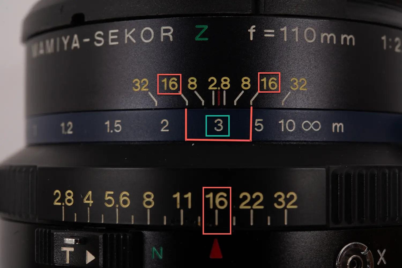 Lens DoF markings