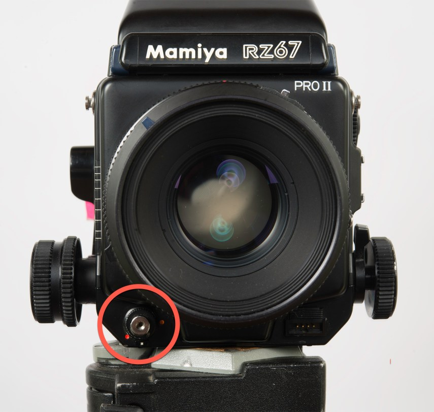 "Mamiya RZ67 - shutter button in the ""shooting position"""