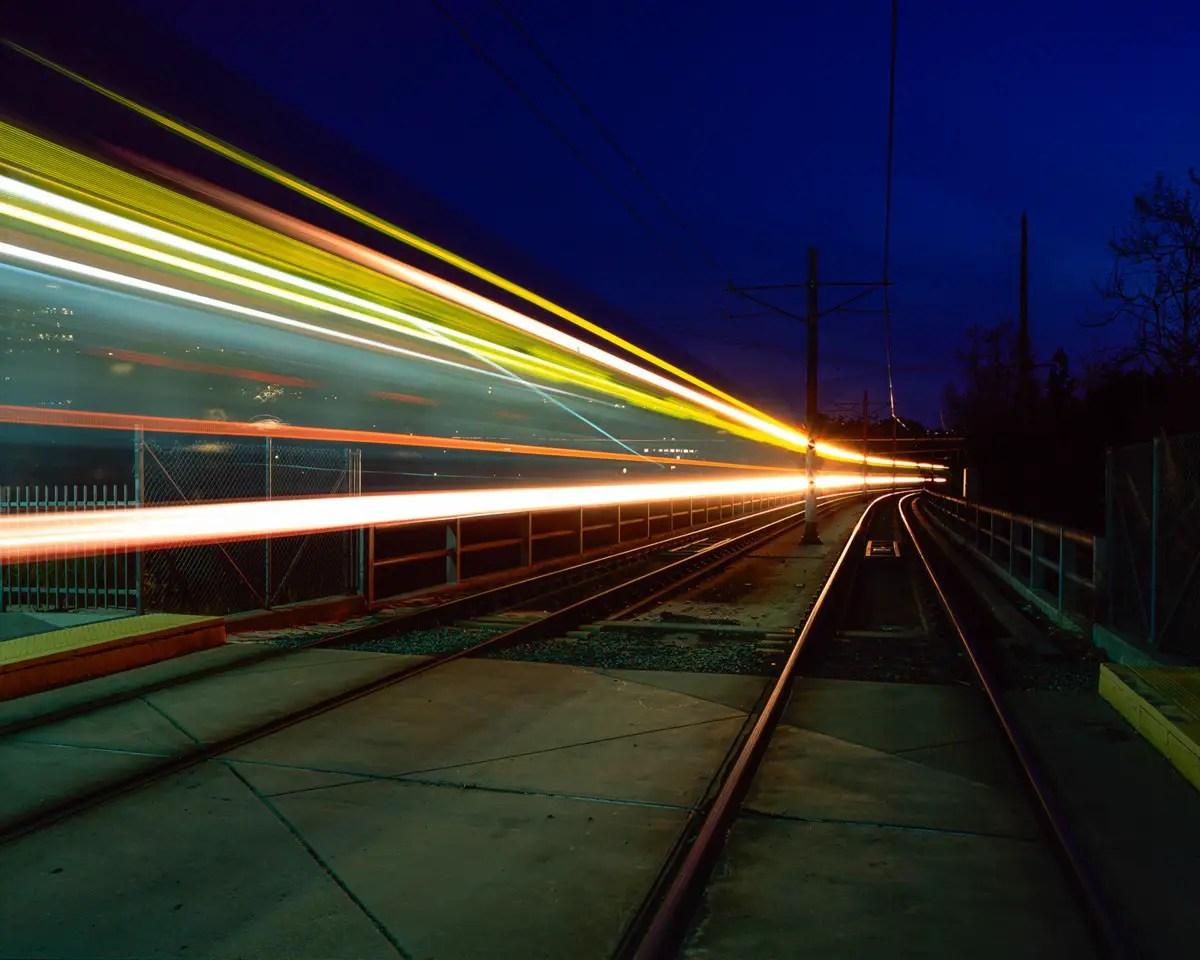 Glowing Tracks - Pentax 67ii, Fuji Provia 100F - San Diego, CA
