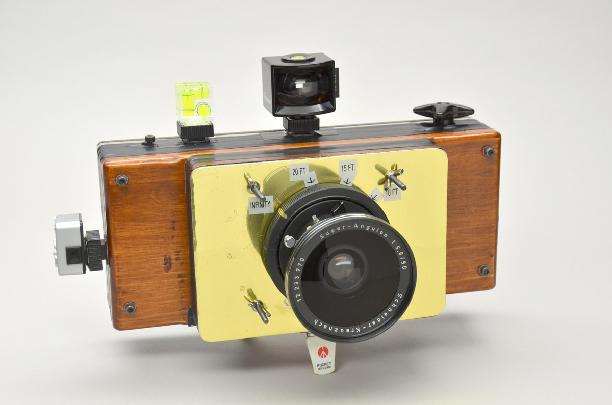 TwoFourths DIY 6x17 Camera Kit - Finished camera with focus marks and 90mm Super Angulon
