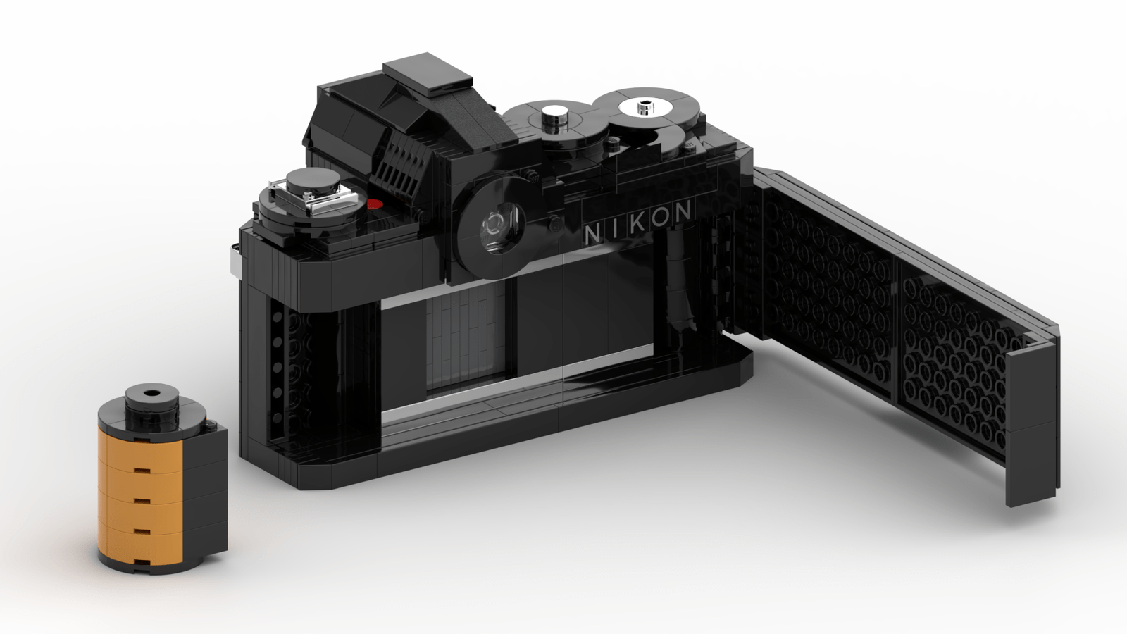 LEGO Nikon F3: Film door open + LEGO 135 cartridge (Credit: Ethan Brossard)